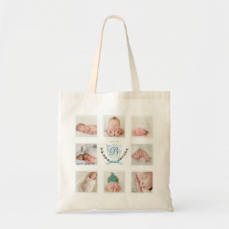 PERSONALIZED BABY BOY PHOTO COLLAGE WITH WREATH TOTE BAG