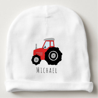 Personalized Baby Boy Red Farm Tractor with Name Baby Beanie