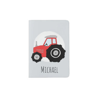 Personalized Baby Boy Red Farm Tractor with Name Passport Holder