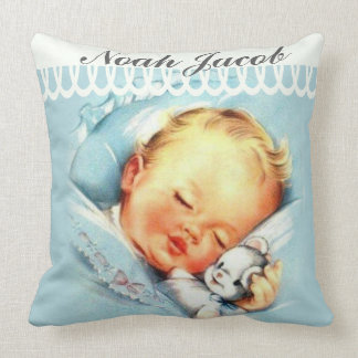 Personalized Baby Boy Sleeping with Stuffed Animal Throw Pillow