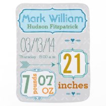 Personalized Baby Boy Stats Arrow Pattern Gray Stroller Blanket