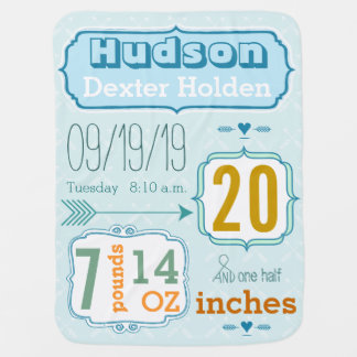 Personalized Baby Boy Stats Blanket