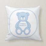 Personalized Baby Boy Teddy Bear Pillow