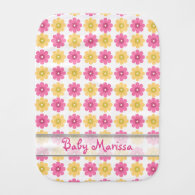 Personalized Baby Burp Cloth|Pretty Floral Pattern