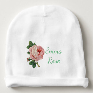 Personalized Baby Cap with Pink Vintage Rose Baby Beanie