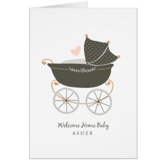 Personalized Baby Carriage Card
