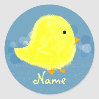 Personalized Baby Chick Sticker Template