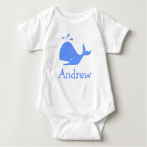 Personalized baby clothes with blue cartoon whale baby bodysuit