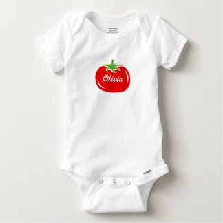 Personalized baby clothes with cute red tomato baby onesie