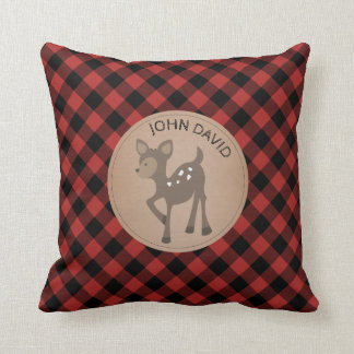 Personalized Baby Deer Plaid Pillow