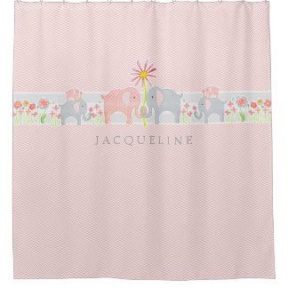 Personalized Baby Elephants Bathroom Shower Curtain