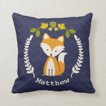 Personalized Baby Fox Wreath Pillow - Boy