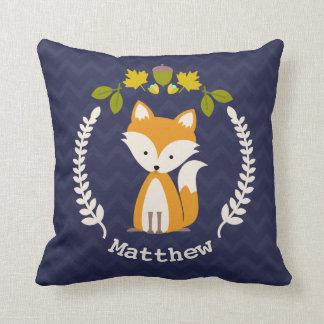 Personalized Baby Fox Wreath Pillow - Boy