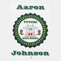 Personalized Baby Future Bull Rider With Boots Swaddle Blanket