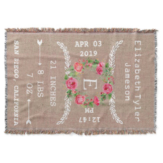 Personalized Baby Girl Announcement/Birth Record Throw Blanket
