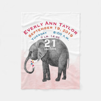 Personalized Baby Girl Birth Record Stats Elephant Fleece Blanket