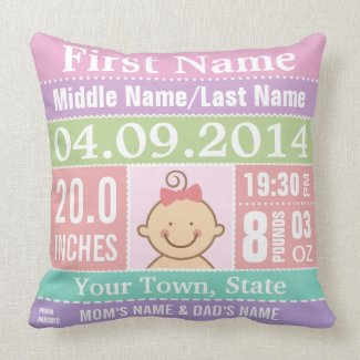 Personalized Baby Girl Birth Stats Pillow