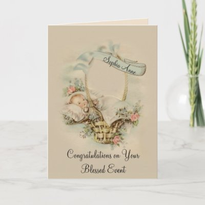 Vintage Congratulations New Baby Girl Card