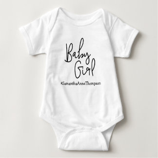 Personalized Baby Girl Hashtag Baby Bodysuit