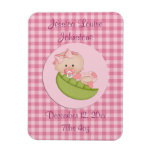 Personalized Baby Girl in a Pod Pink Announcement Magnet