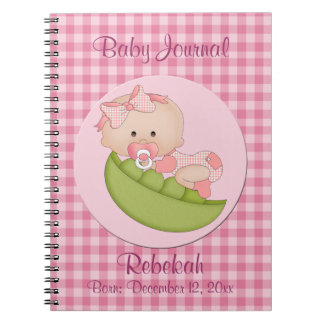 Personalized Baby Girl in a Pod Pink Baby Journal Notebooks