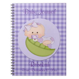 Personalized Baby Girl in Pod Purple Baby Journal Notebook
