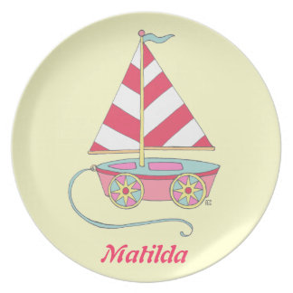 Personalized Baby Girl Nautical Toy Sailboat Plate