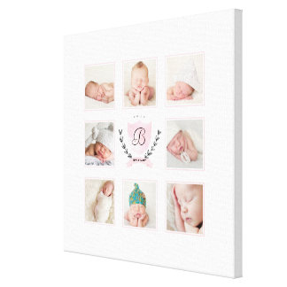 PERSONALIZED BABY GIRL PHOTO COLLAGE WITH WREATH CANVAS PRINT