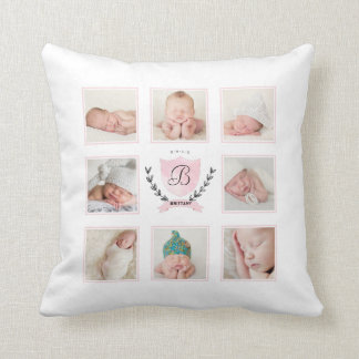 PERSONALIZED BABY GIRL PHOTO COLLAGE WITH WREATH PILLOW