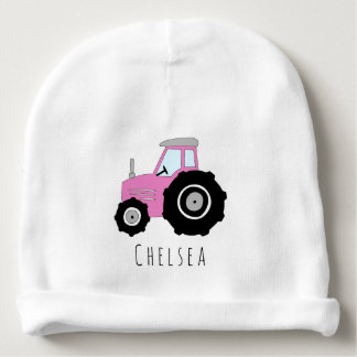 Personalized Baby Girl Pink Farm Tractor with Name Baby Beanie