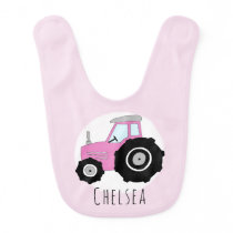 Personalized Baby Girl Pink Farm Tractor with Name Baby Bib