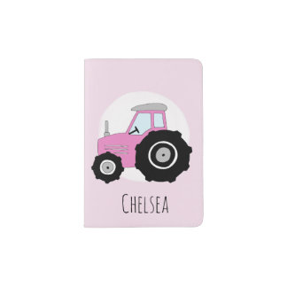 Personalized Baby Girl Pink Farm Tractor with Name Passport Holder