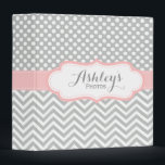 """Personalized Baby Girl Pink Gray Photo Binder<br><div class=""""desc"""">A cute and trendy personalized baby girl photo binder with a pretty light gray,  pastel pink,  and white polka dots and chevron pattern. Personalize this elegant binder with the name and text of your choice.</div>"""
