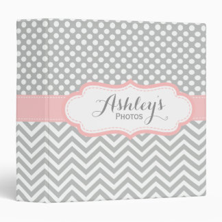 Personalized Baby Girl Pink Gray Photo Binder
