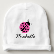 Personalized baby hat for girl with pink ladybug