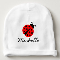 Personalized baby hat for girl with red lady bug