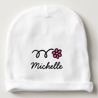 Personalized baby hat with cute pink daisy flower