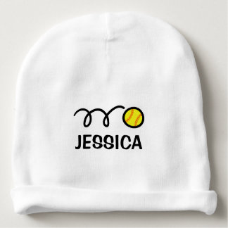 Personalized baby hat with cute softball design