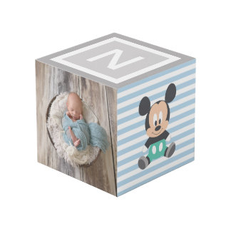 Personalized Baby Mickey and Donald Cube