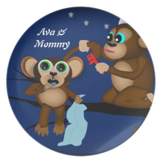 Personalized Baby Monkey and Mommy Bed Time Plate