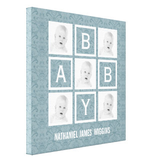 Personalized Baby Name and Photos Canvas Print