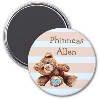 Personalized Baby Name Magnet with cute Teddy Bear