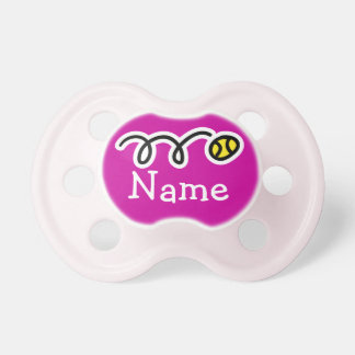 Personalized baby pacifier with tennis ball design
