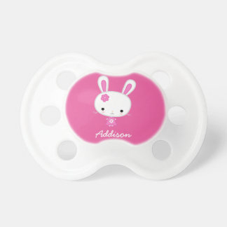 Personalized Baby Pacifiers With Cute Pink Bunny