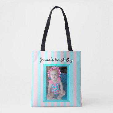 Beach Themed Personalized Baby Photo Beach Bag Pink & Blue
