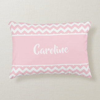 Personalized Baby Pillow - Pastel Blush Pink White