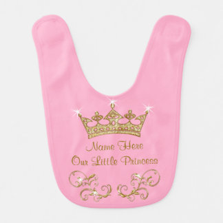 Personalized Baby Princess Bib, NAME and YOUR TEXT Baby Bib