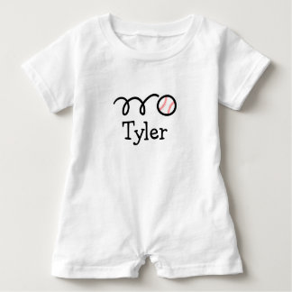 Personalized baby romper bodysuit with baseball