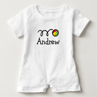 Personalized baby romper bodysuit with beach ball