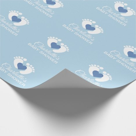 Personalized BABY SHOWER Blue Feet Heart BOY Wrapping Paper
